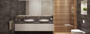 Schönes, modernes Bad mit zwei freistehenden Lavabos, einer Dusche mit Glaswand und einem weissen WC. Die Urs Metzger AG ist Ihr Partner in Sachen Badezimmer.