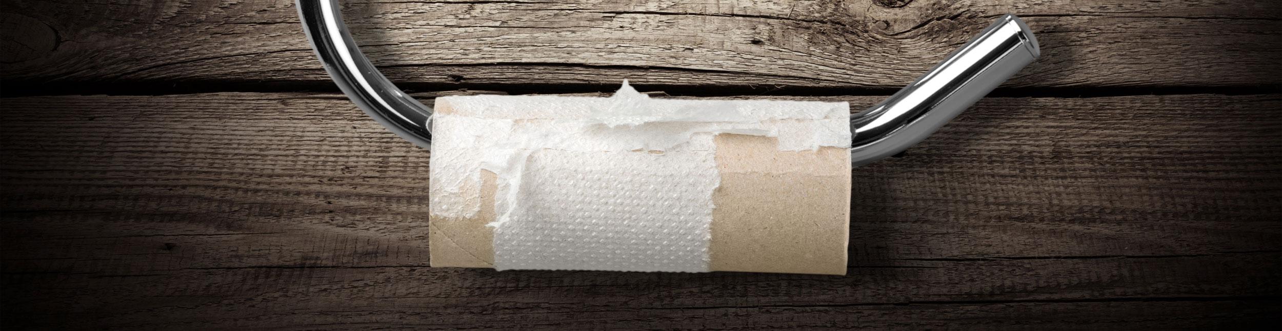 Toilettenpapierrolle mit einem kleinen Stück Papier. Mit den Dusch WC's der Urs Metzger AG brauchen Sie kein WC-Papier mehr.